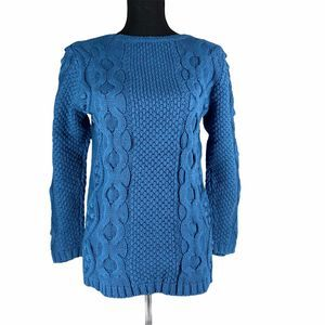 NWT Coldwater Creek Blue Popcorn Cable Sweater L